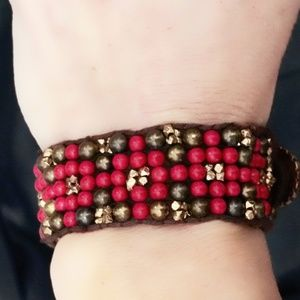 Lucky Brand Beaded Leather Bracelet